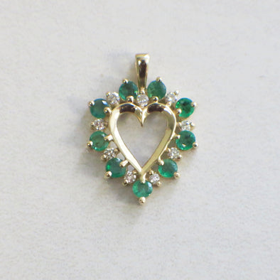 14K Yellow Gold Diamond and Emerald Heart Shaped Pendant