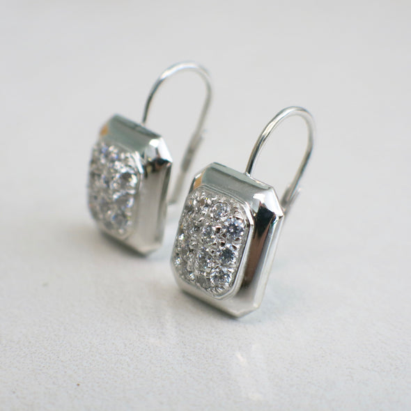 14K White Gold Diamond Dangle Drop Earrings
