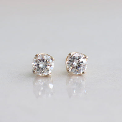 14K Yellow Gold .44 CTW Diamond Stud Four Prong Earrings