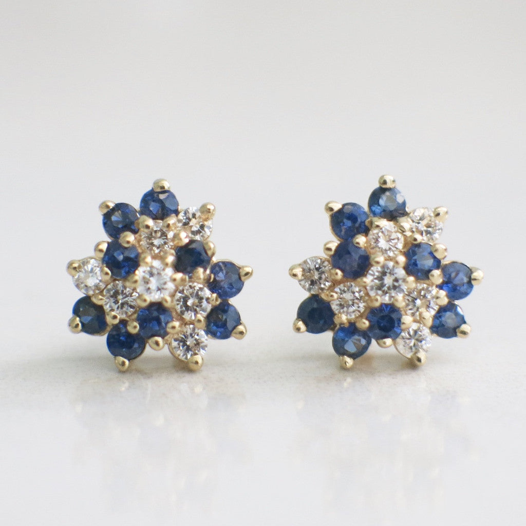 75638f090 14K Yellow Gold Vintage Diamond and Sapphire Cluster Stud Earrings