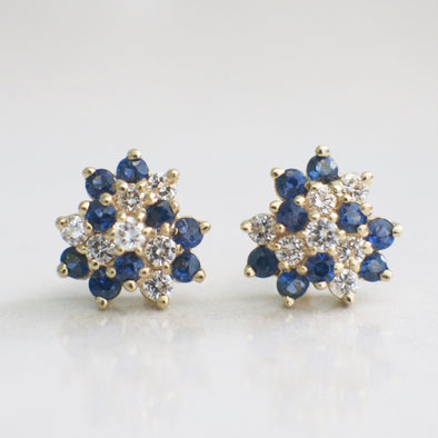 14K Yellow Gold Vintage Diamond and Sapphire Cluster Stud Earrings