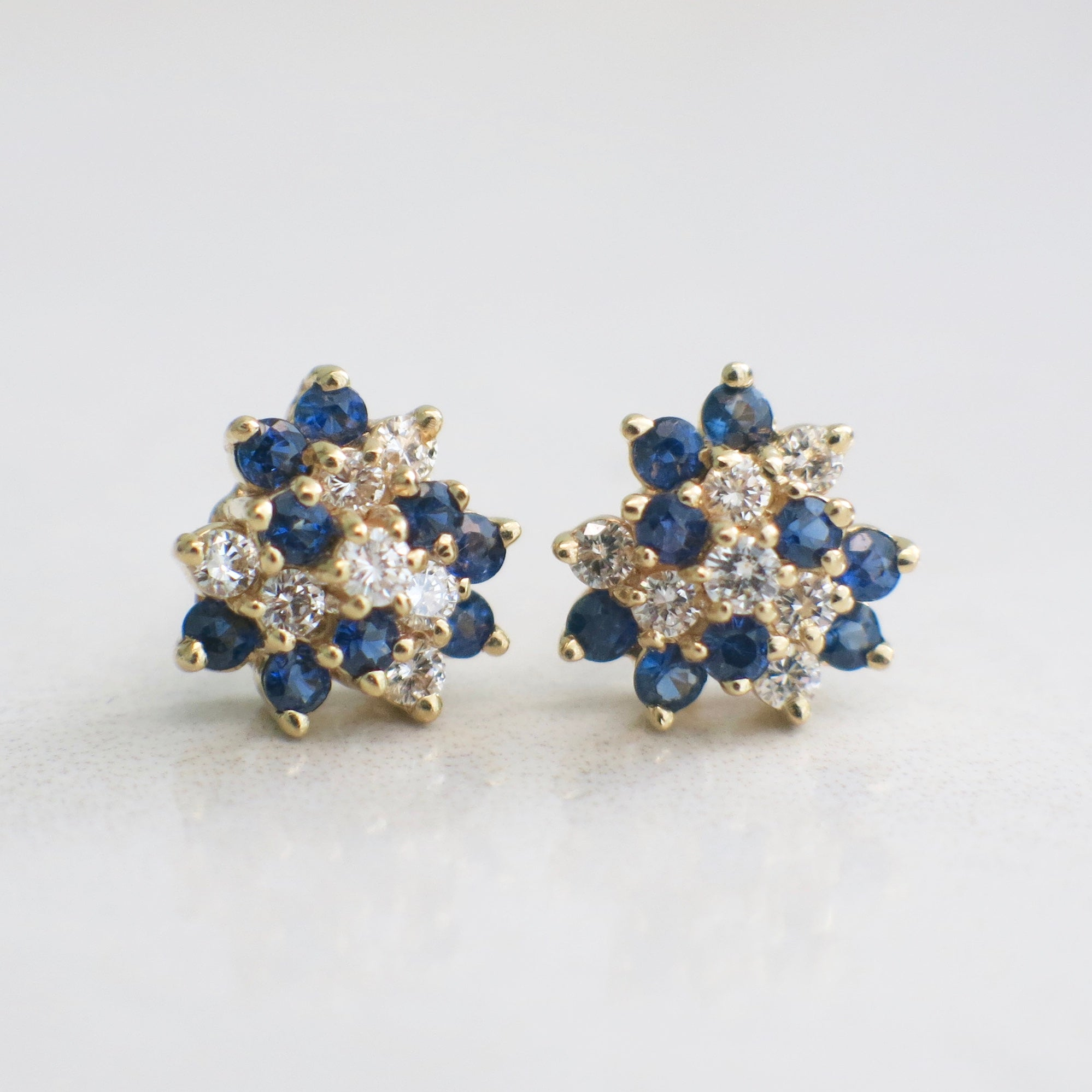 Natural Sapphire 14k Solid Yellow Gold Small Cluster Flower Stud Earrings