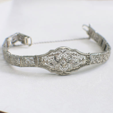 Diamond Filigree Art Deco 14K White Gold Bracelet