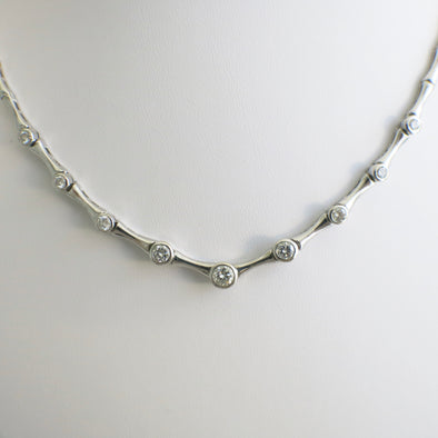 18K White Gold Vintage Diamond Ascending Bezel Bone Link Necklace