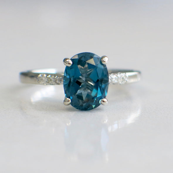 Oval Topaz and Diamond Accented Alternative Engagement Ring or Ring