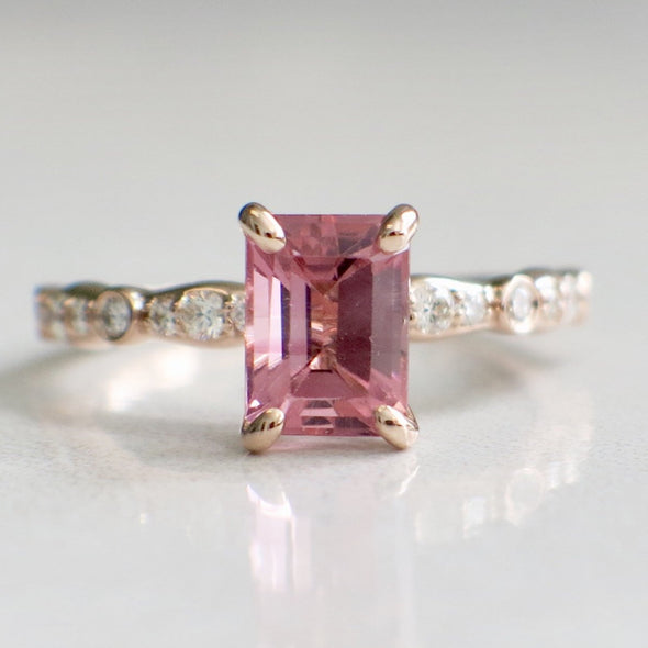 14K Rose Gold Pink Emerald Cut Tourmaline and Diamond Accented Ring