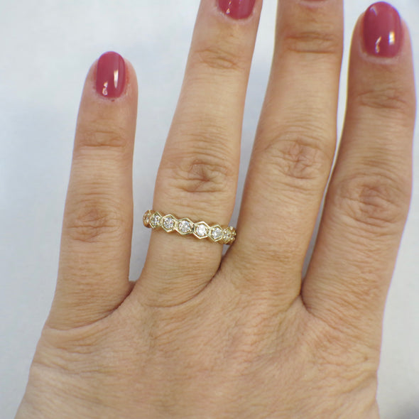 14K Yellow Gold Stackable Ring Hexagon Anniversary Wedding Band