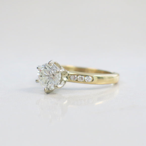 Six Prong GIA Certified Diamond Engagement Ring with Diamond Accented 14K Yellow Gold Band