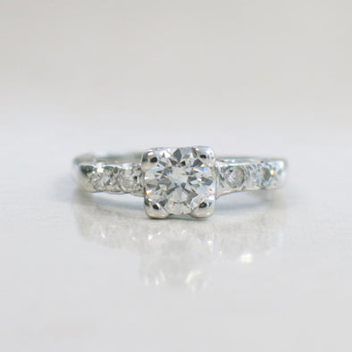 14K White Gold Vintage Round Brilliant and Single Cut Diamond Engagement Ring