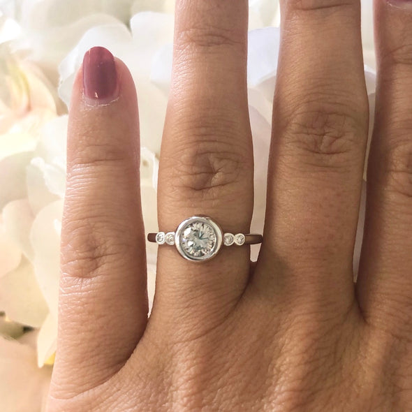 Natural Diamond Bezel Set 14k White Gold Engagement Ring with Bezel Diamond Accents GIA Certified