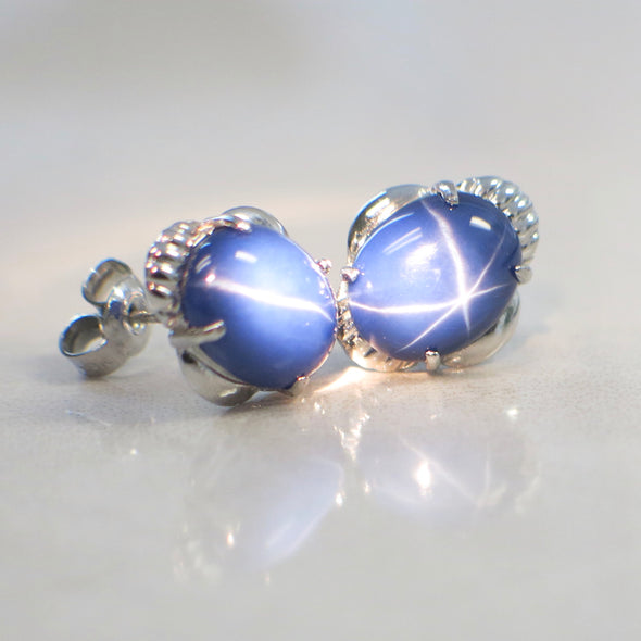 18K White Gold Oval Synthetic Star Sapphire Stud Earrings