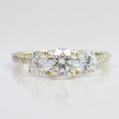 Three Stone Natural Diamond 14K Yellow Gold Engagement Ring with Diamond Accented Band