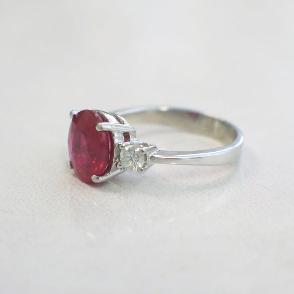 14K White Gold Vintage Oval Ruby and Diamond Three Stone Ring Alternative Engagement Ring