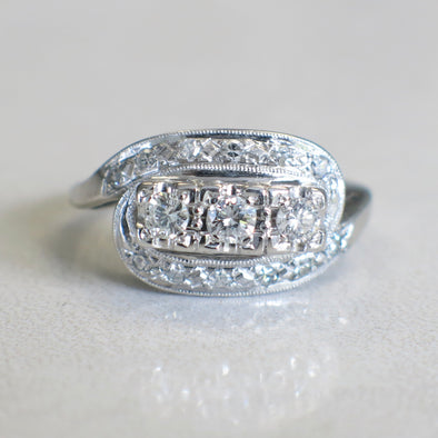 Art Deco Vintage 14K White Gold Three Stone Diamond Ring