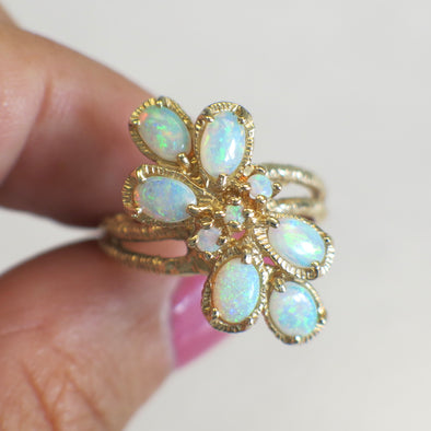14K Yellow Gold Vintage Askew Oval and Round Opal Matte Textured Ring
