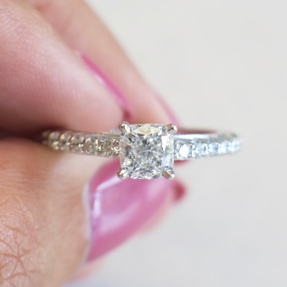 GIA Certified Cushion Cut and Diamond Accented Platinum Engagement Ring