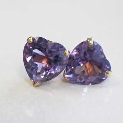 Vintage Extra Large Heart Amethyst 14K Yellow Gold Studs
