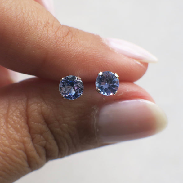 Tanzanite Round Gemstone 14K White Gold Stud Earrings