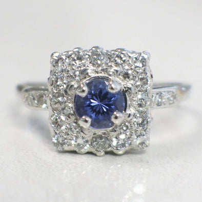 Tanzanite and Diamond Square Halo Vintage Cluster Platinum Ring