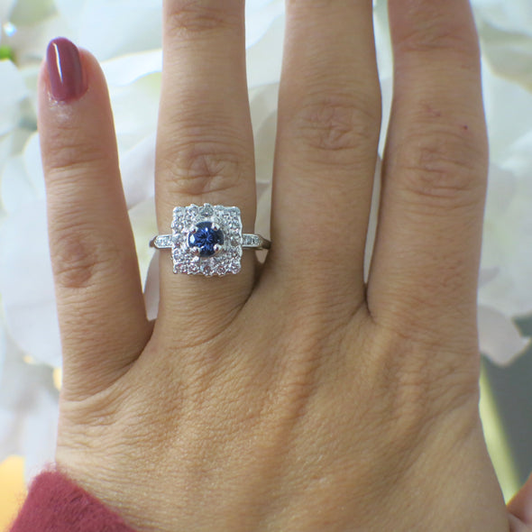 Round Violet Tanzanite and Square Diamond Halo Vintage Platinum Ring Alternative Engagement Ring