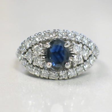 Natural Oval Sapphire and Diamond Cluster Evil Eye Platinum Vintage Ring
