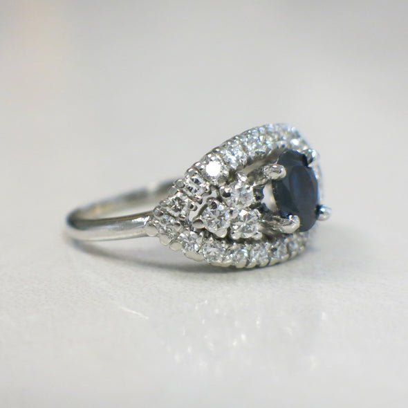 Natural Oval Sapphire and Diamond Vintage Evil Eye Cluster Platinum Ring HEAVY