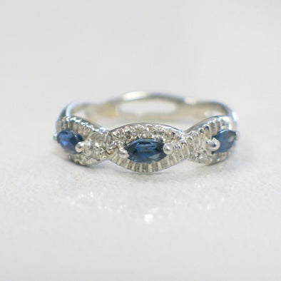 Sapphire East to West Marquise and Diamond Vintage Infinity Ring Stackable Band