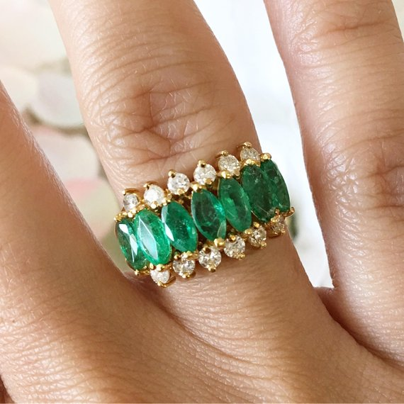 Green Emerald Marquise and Round Brilliant Diamond 18K Yellow Gold Crown Ring Band
