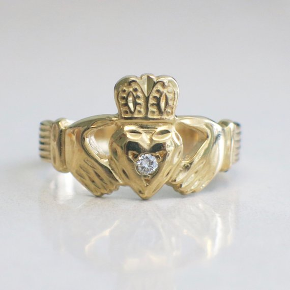 14K Yellow Gold Claddagh Ring With Diamond Center