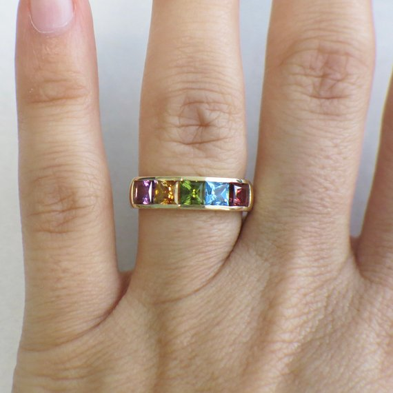 18K Yellow Gold Multi-colored Rainbow Princess Tourmaline Vintage Band Ring