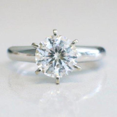 14K White Gold Cubic Zirconia Engagement Ring
