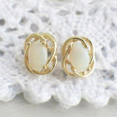 Oval Opal Stud 14K Yellow Gold Earrings