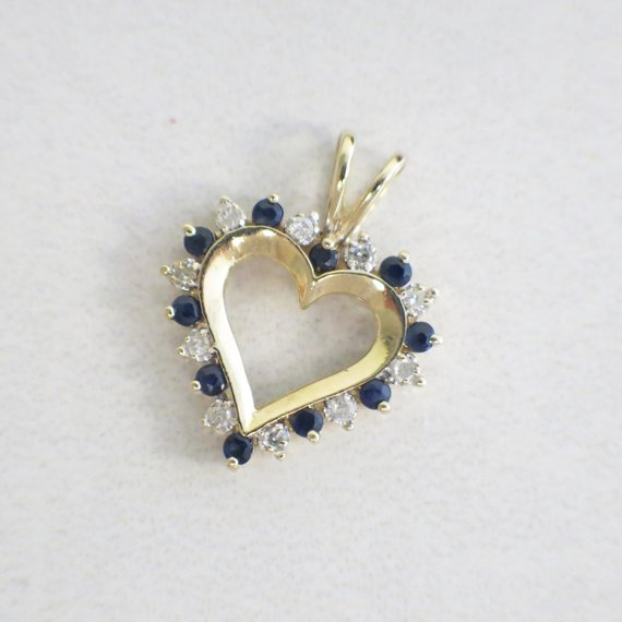 10K Yellow Gold Vintage Diamond and Sapphire Heart Pendant