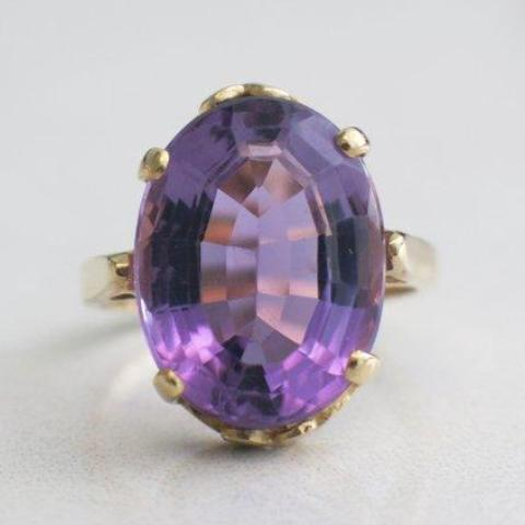 Amethyst and 14K Vintage Statement Cocktail Ring