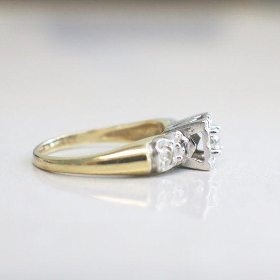14K Yellow and White Gold Two Tone Diamond Engagement Ring