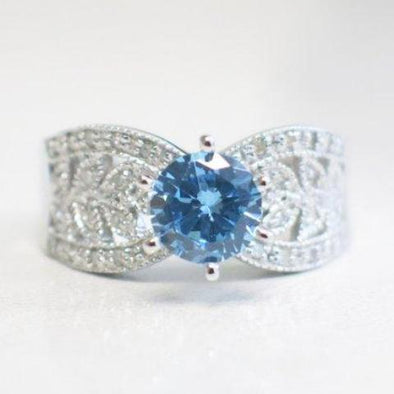 10K White Gold and Light Blue Glass Gem Wide Band Scroll Ring