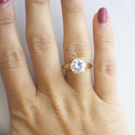 Round Brilliant Cut CZ Cubic Zirconia 14K Gold Alternative Engagement Ring