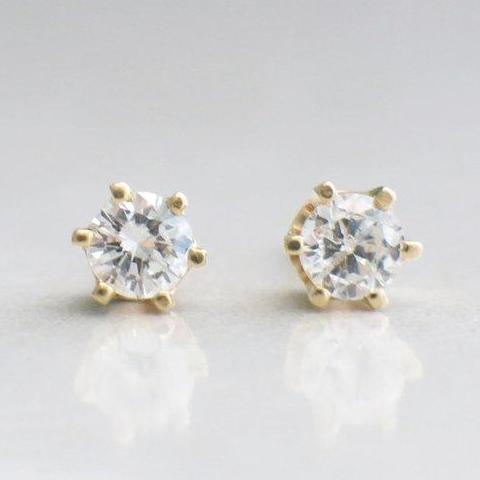 14K Yellow Gold Diamond Stud .46 CTW Earrings