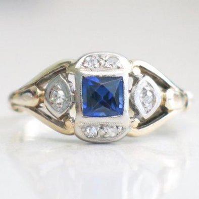 Two Tone Princess Cut Sapphire and Diamond Vintage Ring Alternative Ring