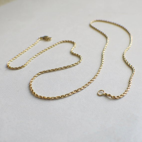 14K Yellow Gold Vintage Round Parisian Wheat Chain Necklace