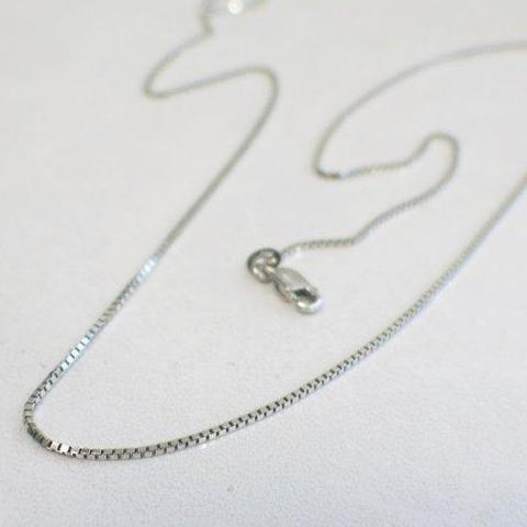 14K White Gold Box Chain Necklace 20 Inches