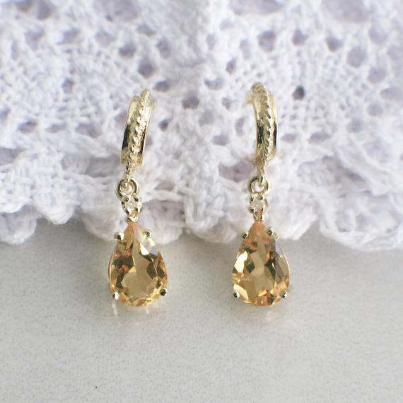 Pear Cut Citrine and Diamond 14K Yellow Gold Dangle Earrings