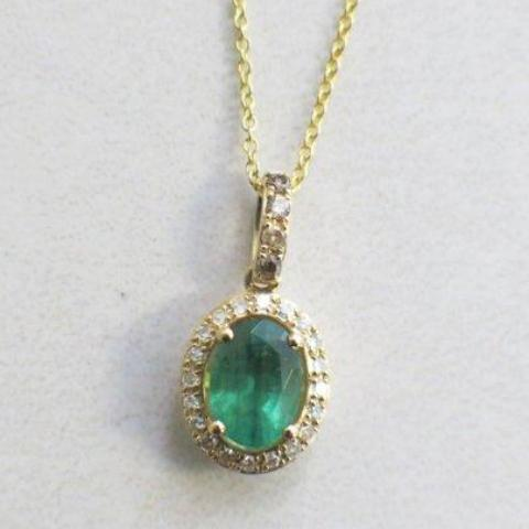 Effy BH Oval Emerald with Diamond Halo Pendant 14K Yellow Gold Cable Chain