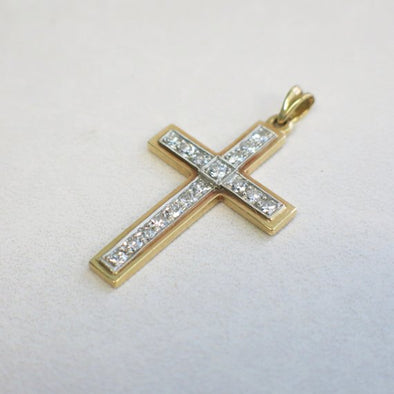 Vintage 18K Two Tone Single Cut Diamond Cross Pendant