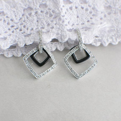 Black Enamel and White Diamond Dangle Earrings 14K White Gold
