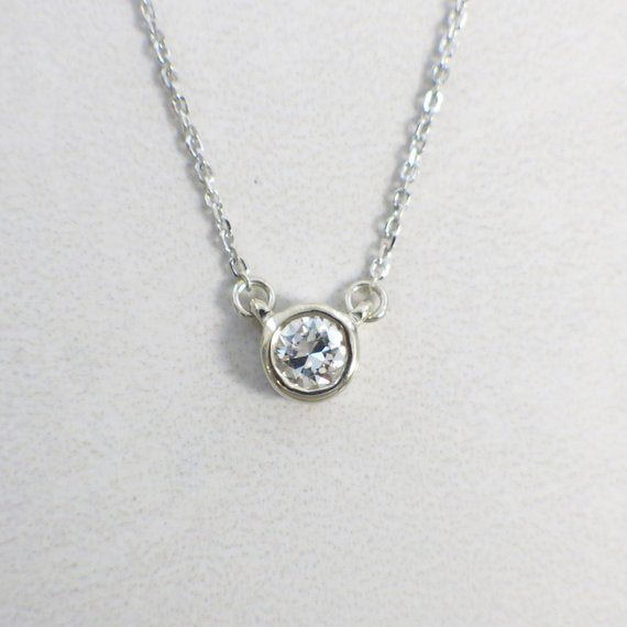 14K Diamond Round Brilliant Solitaire Bezel Customizable Necklace