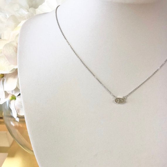 14K Gold Natural Diamond MARQUISE Solitaire Bezel Necklace