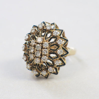 14K Yellow Gold Diamond and Black Enamel Flower Floral Cocktail Statement Large Vintage Ring