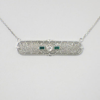 1920's Vintage Art Deco Emerald and Diamond Pin Conversion Bar Pendant Necklace 14K White Gold