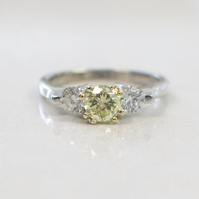 Fancy Yellow Round Brilliant Diamond Three Stone 14k White Gold Ring Engagement Anniversary